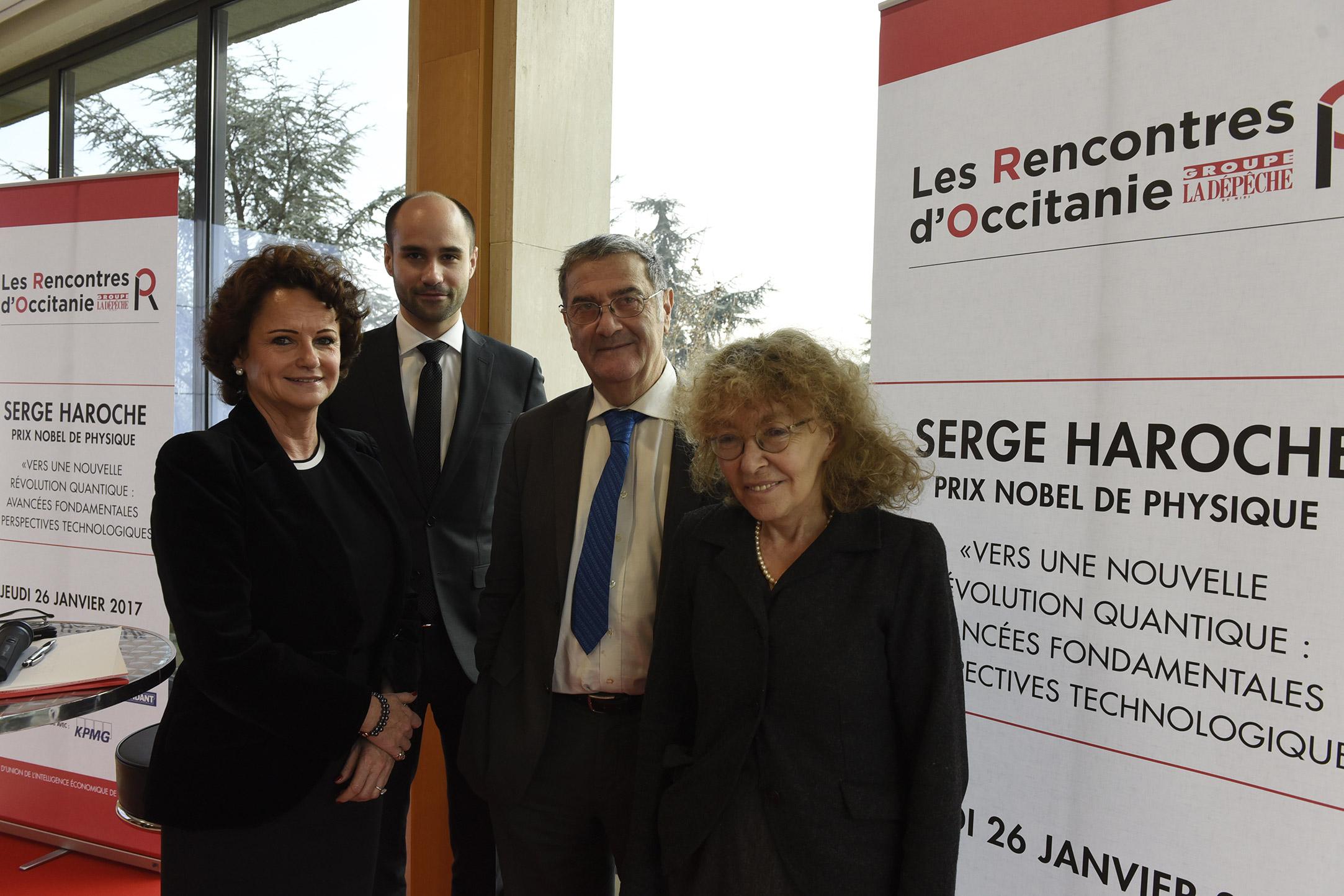 Serge HAROCHE et son épouse accueillis par Marie-France MARCHAND-BAYLET et Jean-Benoit BAYLET