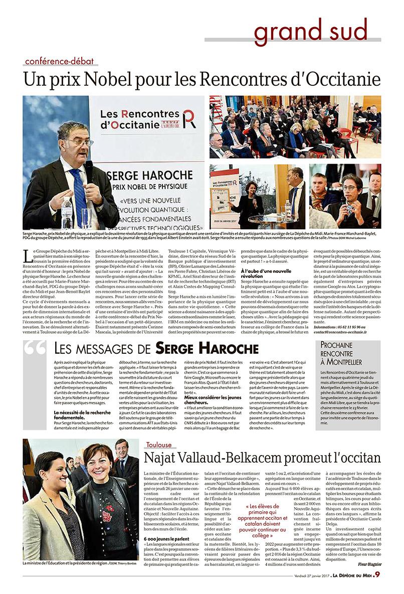 LRO CR Dépêche du Midi Serge HAROCHE - 26 janvier 2017