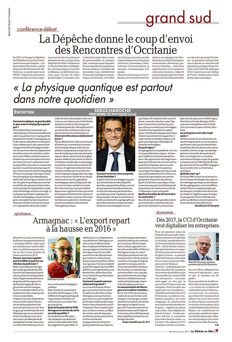 LRO interview Dépêche du Midi Serge HAROCHE - Les Rencontres d'Occitanie - 26 janvier 2017