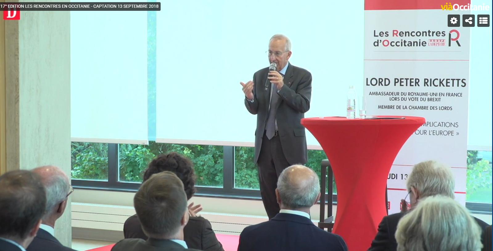 Vidéo intégrale 17èmé édition des Rencontres d'Occitanie - Lord Peter RICKETTS - 13 septembre 2018